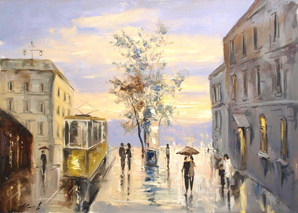 """Купить картину маслом на холсте """"Дождливый город"""" Размер ...  Дождливый Город Картина"""