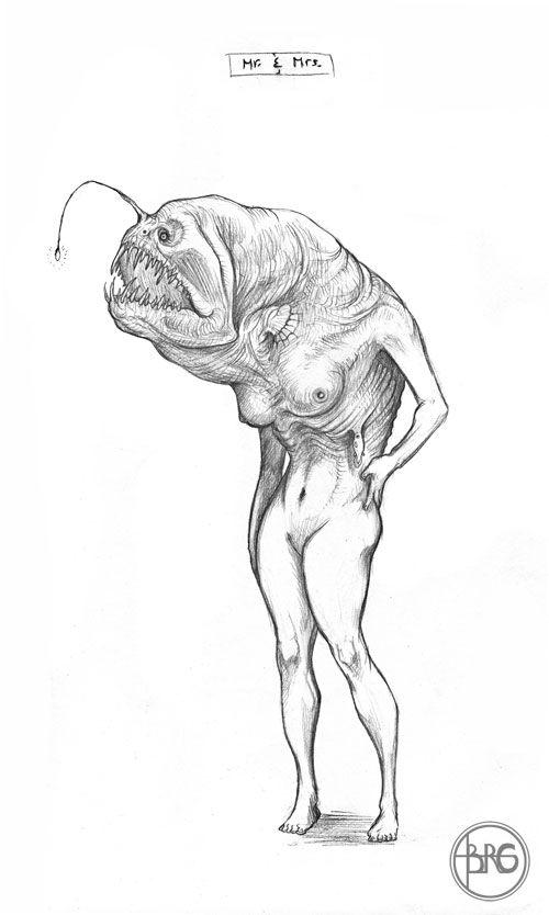 Angler Fish Skeleton - Scientific Anatomy Drawing - OE-01 Fine art ...