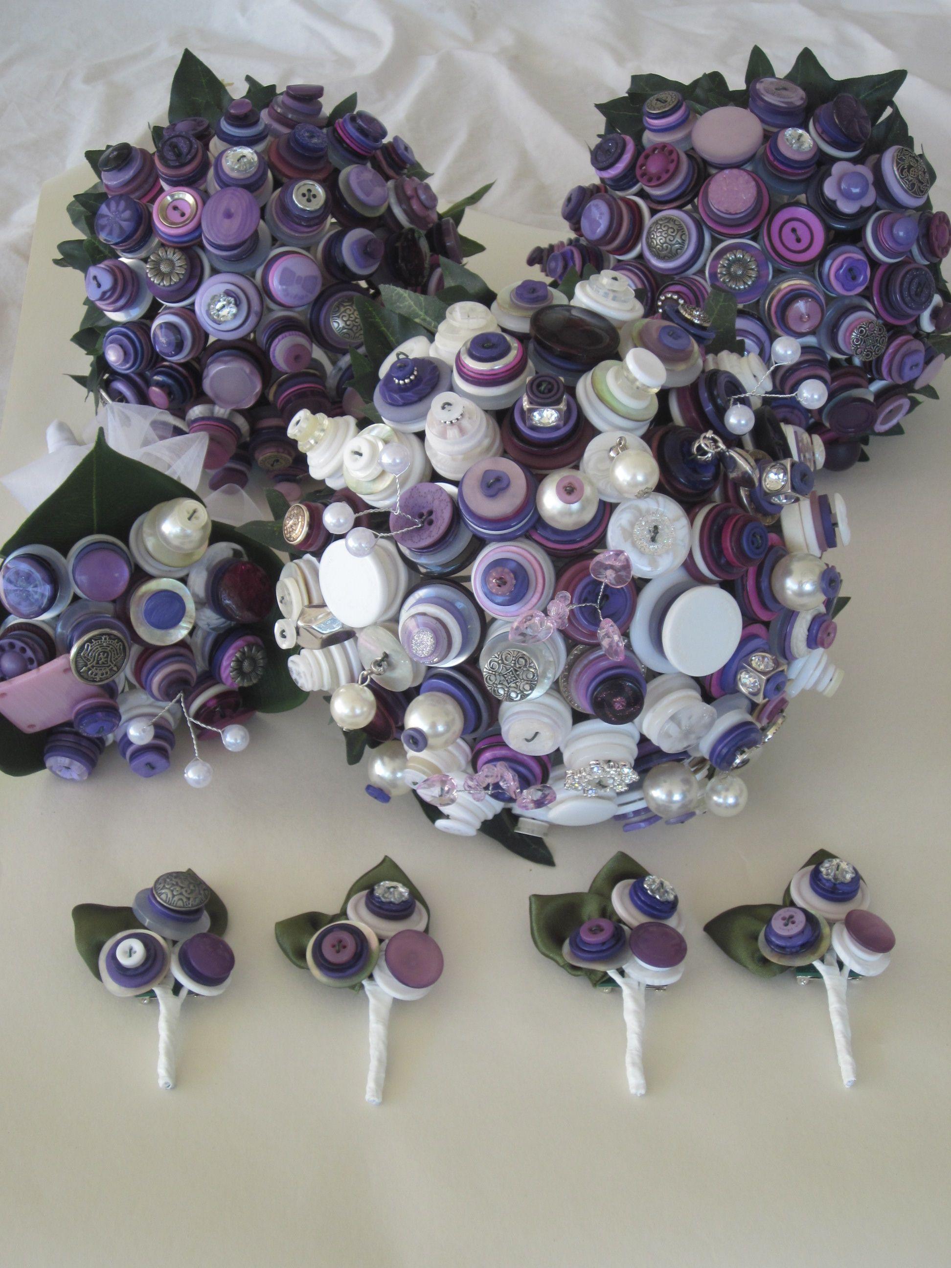 Purple White And Silver Button Wedding Theme Bridal Party Bride