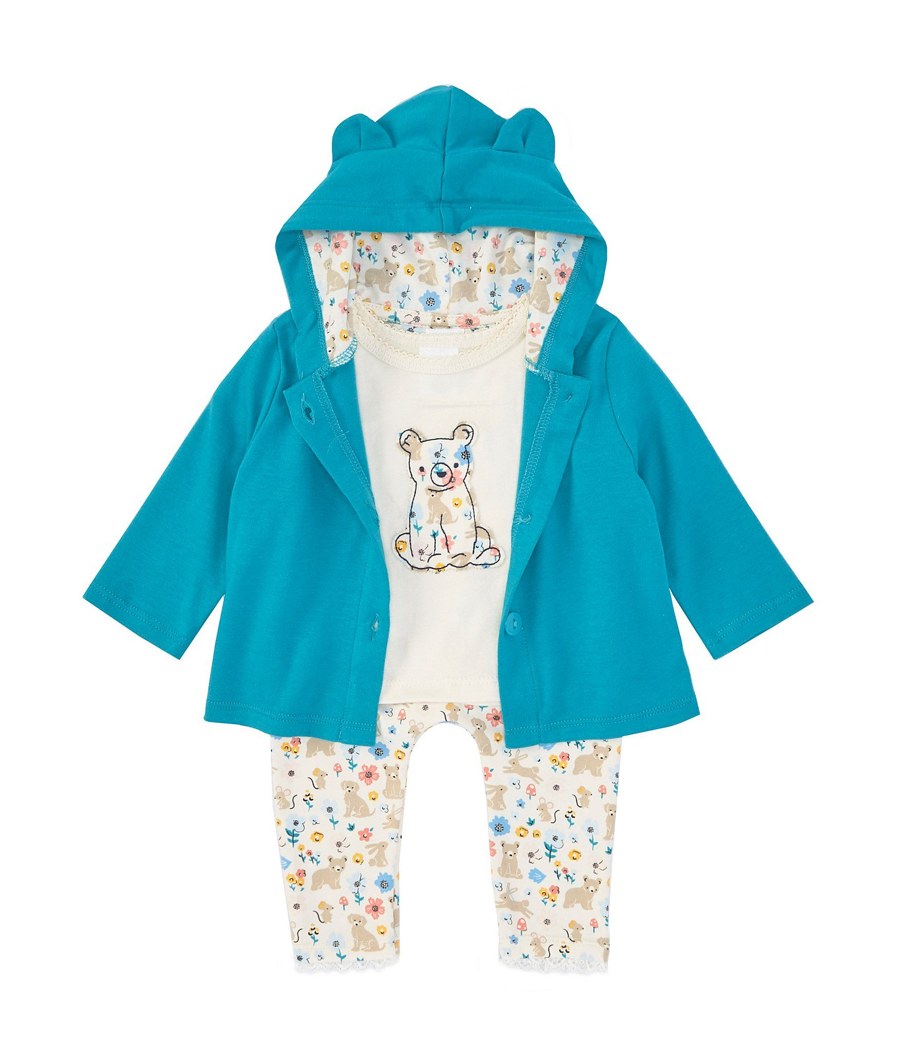 NEW Baby Girls 3 Piece Set 6-9 Months Bodysuit Pants Hat Outfit Bear Layette