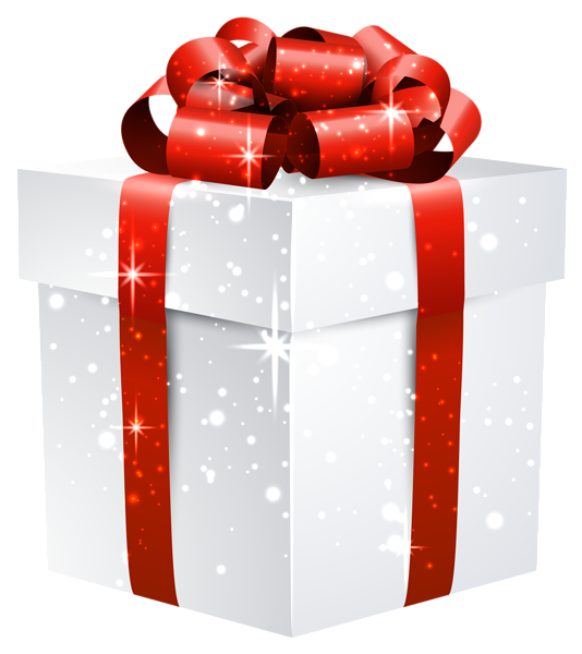 White Shining Gift Box with Red Bow PNG Clipart Image