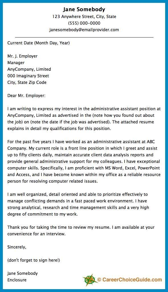 Cover letter sample for an administrative assistant Cover - administrative cover letters