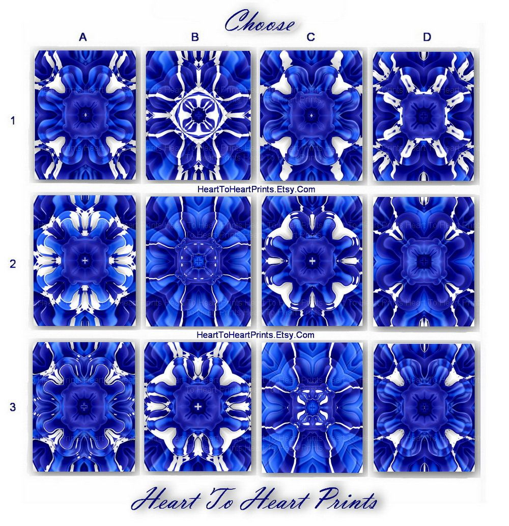 royal blue wall art cobalt blue floral abstract wall decor navy