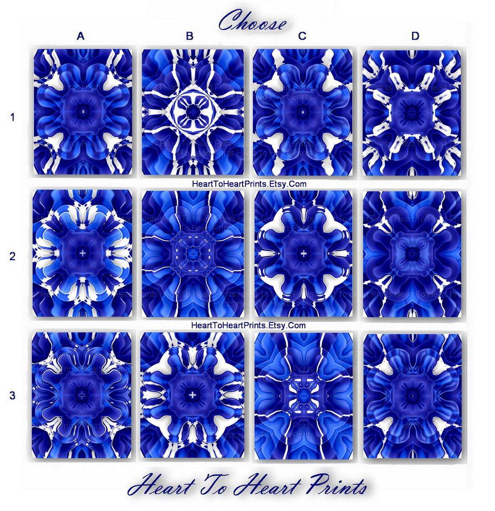 Royal Blue Wall Art Cobalt Fl Abstract Decor