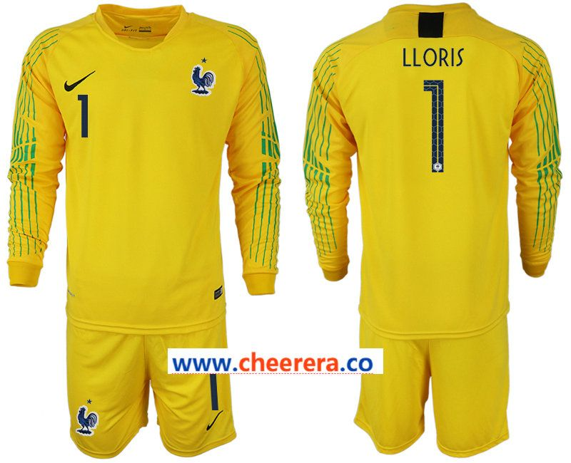 1c4831988 France 1 LLORIS Yellow 2018 FIFA World Cup Long Sleeve Soccer Jersey ...