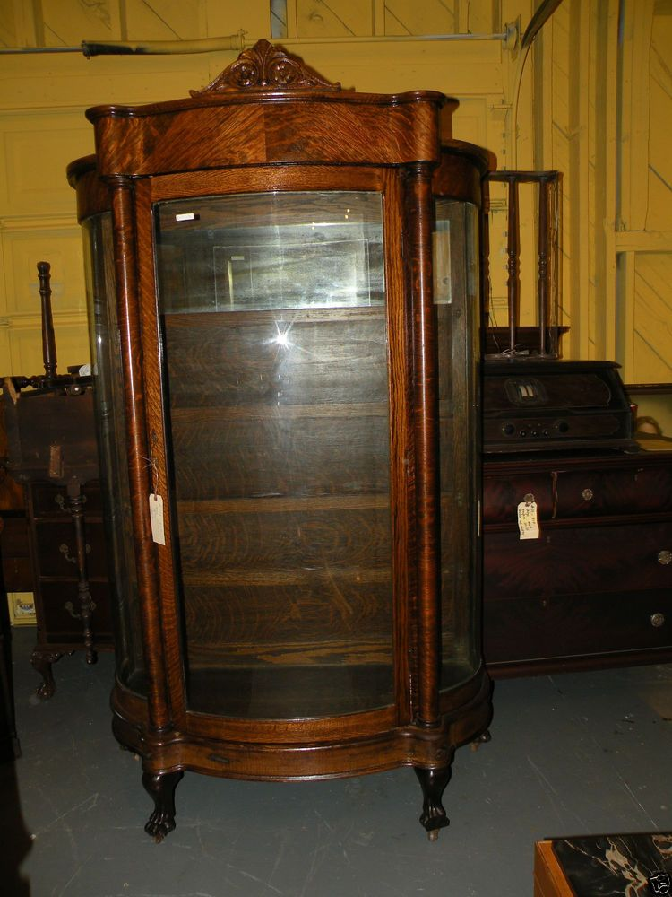 Antique Very Large Oak Curved Gl China Cabinet Hutch Paw Feet