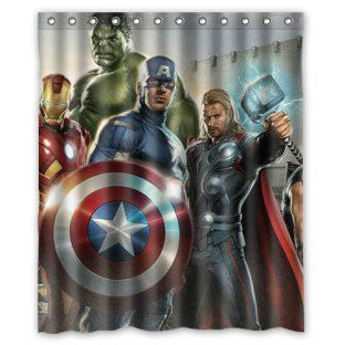 Superhero The Avengers Shower Curtain To Accent Kids Bathroom Superheroes Bathrooms Superhero Bathroom Superhero Shower Curtain Kid Bathroom Decor