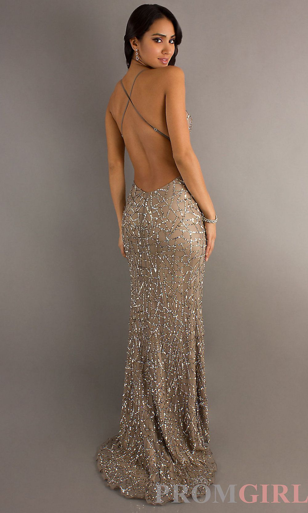 Backless Sequin Gowns Scala Open Back Prom Dresses