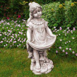 Holding Dress Add Flowers To Garden Statue