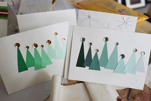 Crear tarjetas de Navidad hechas a mano 3 DIY Pinterest