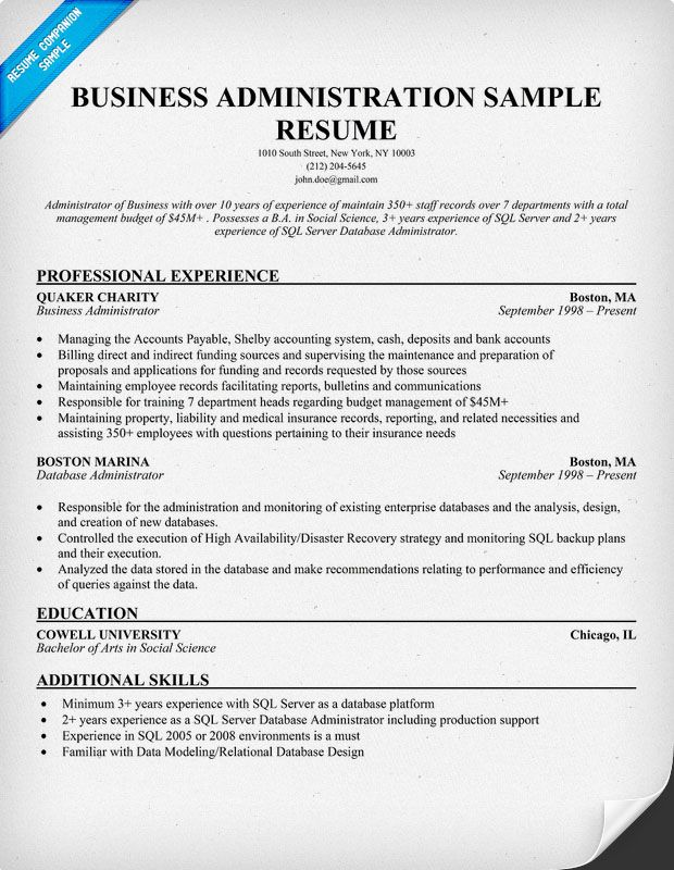 Resume Examples For Administration Resume Example Business Administration.  Examples Of Business Resumes