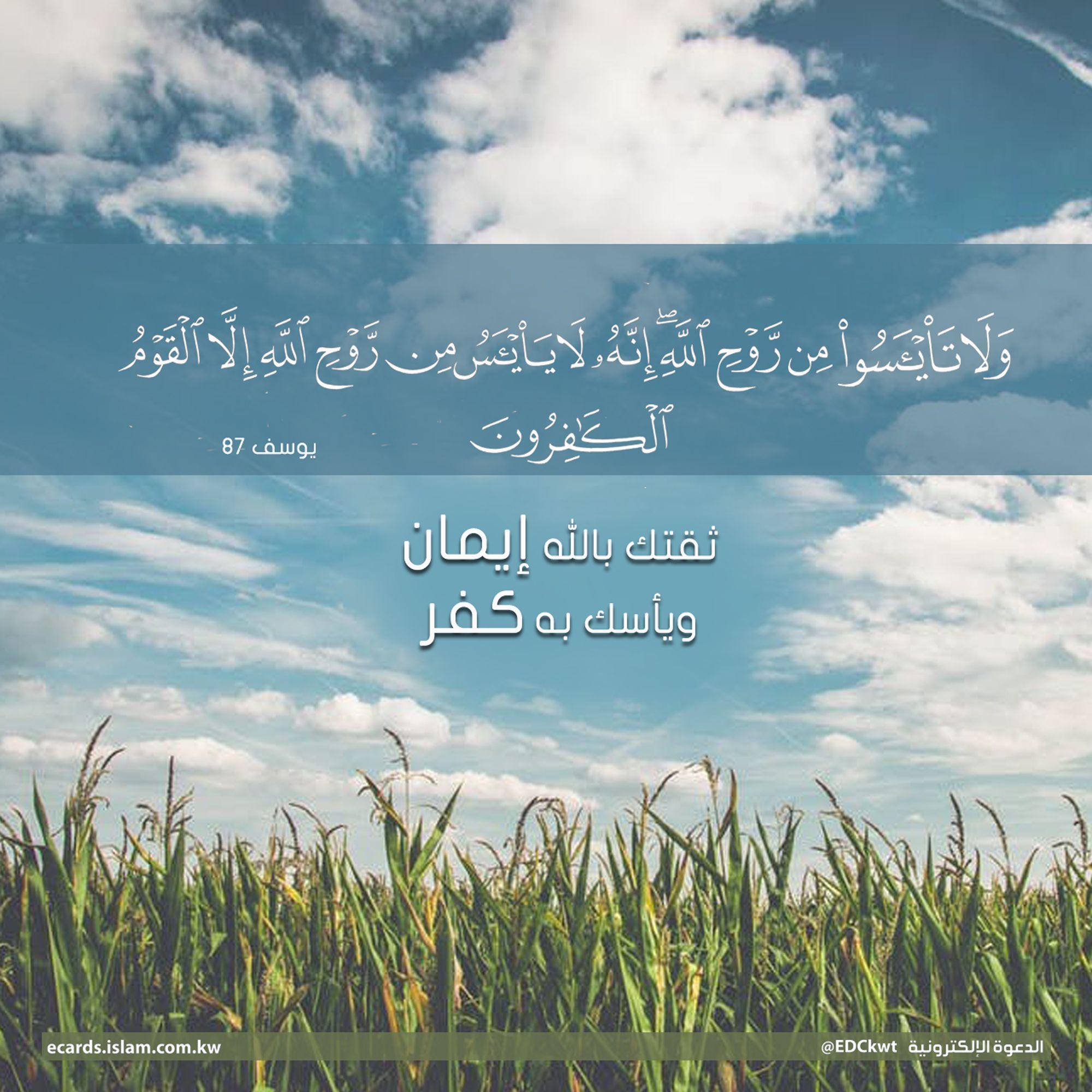 ولا تيأسوا من روح الله انه لا ييأس من روح الله الا القوم الكافرون Places To Visit Arabic Quotes Life