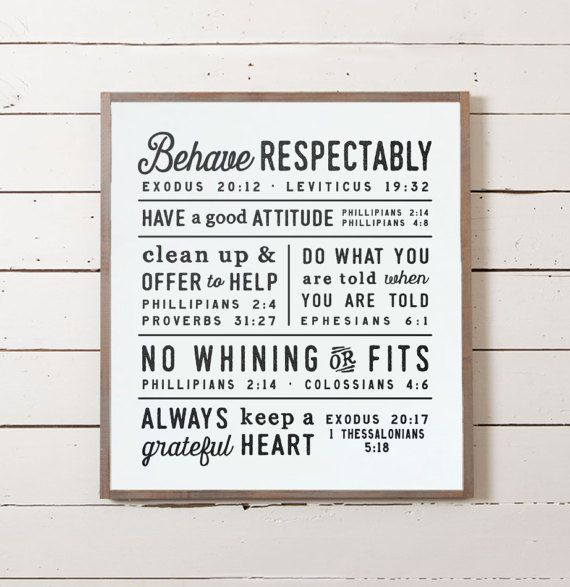 Scripture Family Rules, Kids Rules, House Rules, Bible