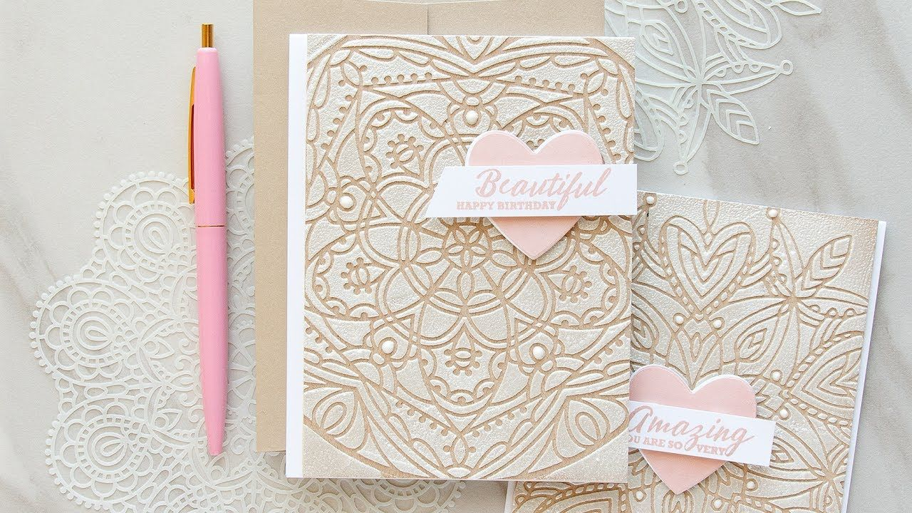 cardmaking technique video tutorial:Textured Lace Cards Using Stencils ... by Yana Smakula ... stencils by Simon Says Stamp ...