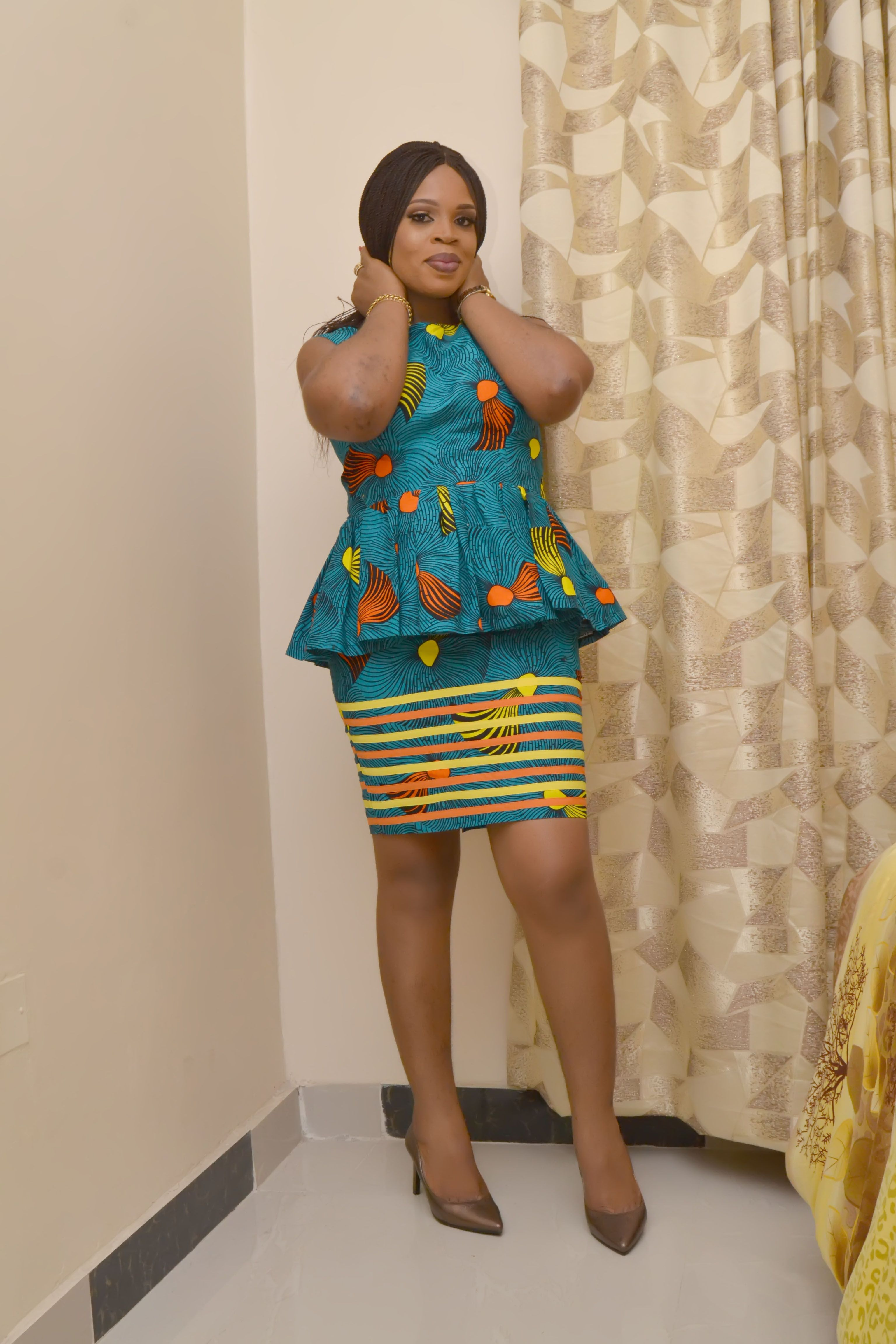 a9c2460f11 GlamzByAma Skirt & Blouse Set, African Gathered Blouse and Short Skirt,  African Style, Turquoise Ankara Co-ord Set, Stripe Designs