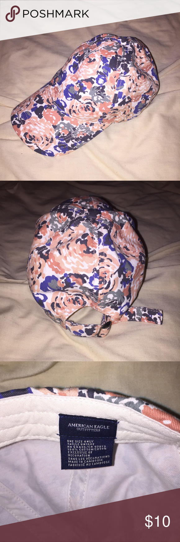 Floral Baseball Hat One Size. Tightens with strap in the back. American Eagle Outfitters Accessories Hats