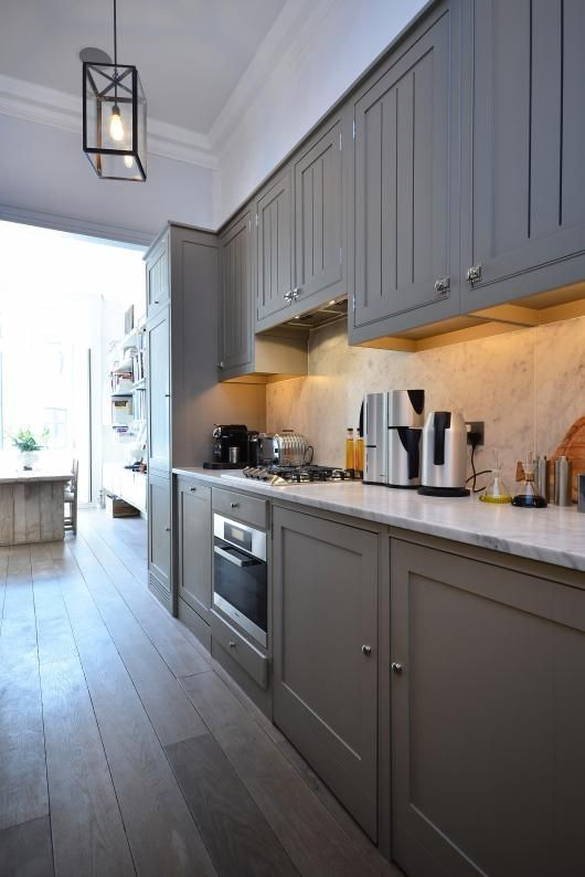 Long Thin Kitchen Grey Painted Cabinets Kitchen Inspirations Home
