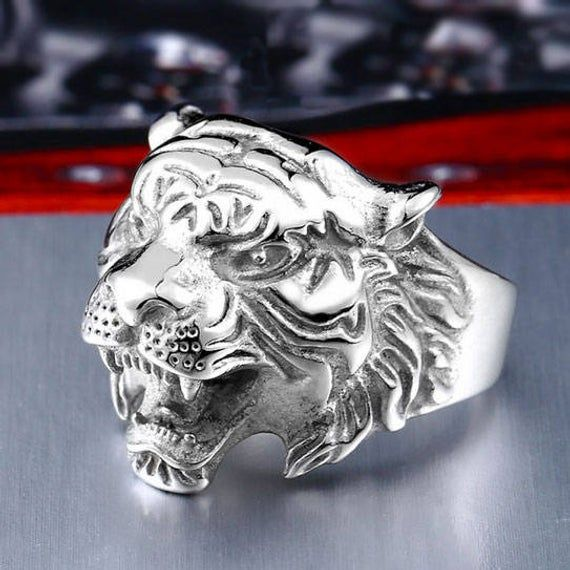 Vintage pour homme en acier inoxydable 3D Tiger Head animal Ring Band Motard Party Jewelry