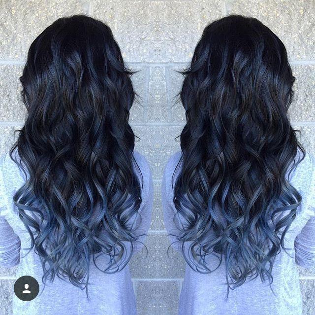 Dark Hair With Denim Blue Ombre Balayage Denim Hair Blue Hair Blue Hair Balayage