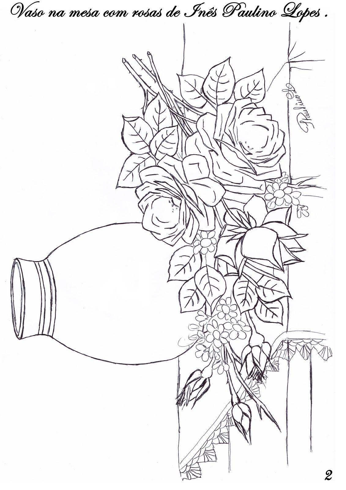 Risco De Vaso Com Rosas Na Mesa Com Imagens Desenho Floral