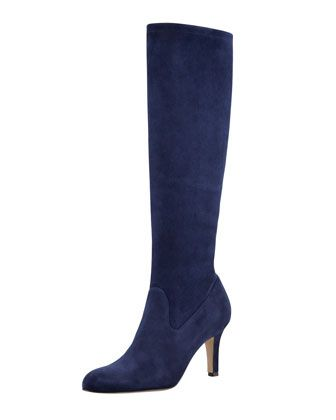 5a92dea77cb15 Pascaputre Suede Knee-High Boot, Navy by Manolo Blahnik at Bergdorf Goodman.