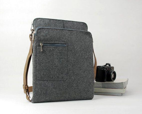 Free Shipping Gray Felt Messenger Bag Shoulder Crossbody Ipad School Business With Retro Leather Straps E1738