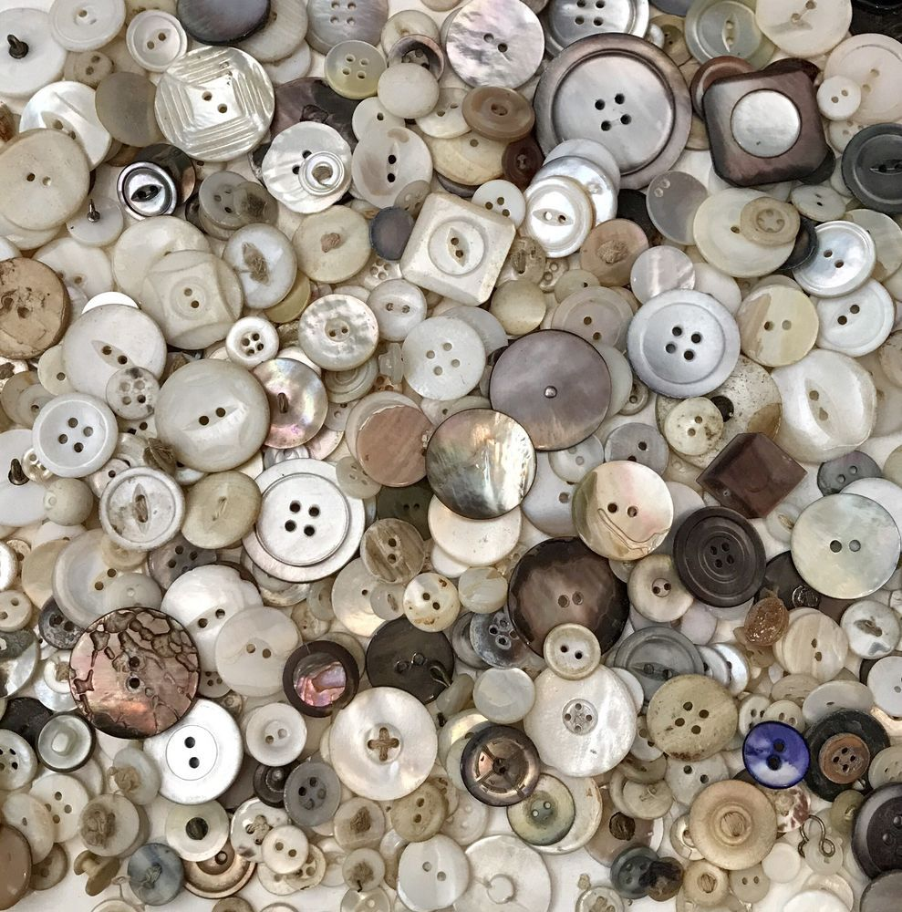 LOT 12 LARGE NATURAL WHITE VINTAGE MOTHER OF PEARL SHELL MOP Buttons CRAFTS 21mm