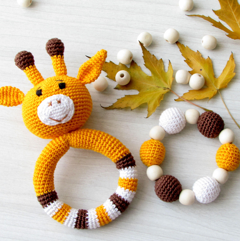 Giraffe baby rattle set crochet toy wooden teether soft rattle