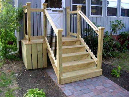 Image result for diy movable stairs and landing small ... on deck plans, diy screened in back porch ideas, mobile home covered porch plans, diy decks and porches, double wide mobile home floor plans,