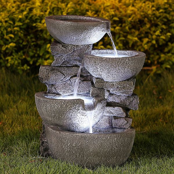 Cascading Modern Bowls Fountain-Lighted (1855 NOK) ❤ liked on