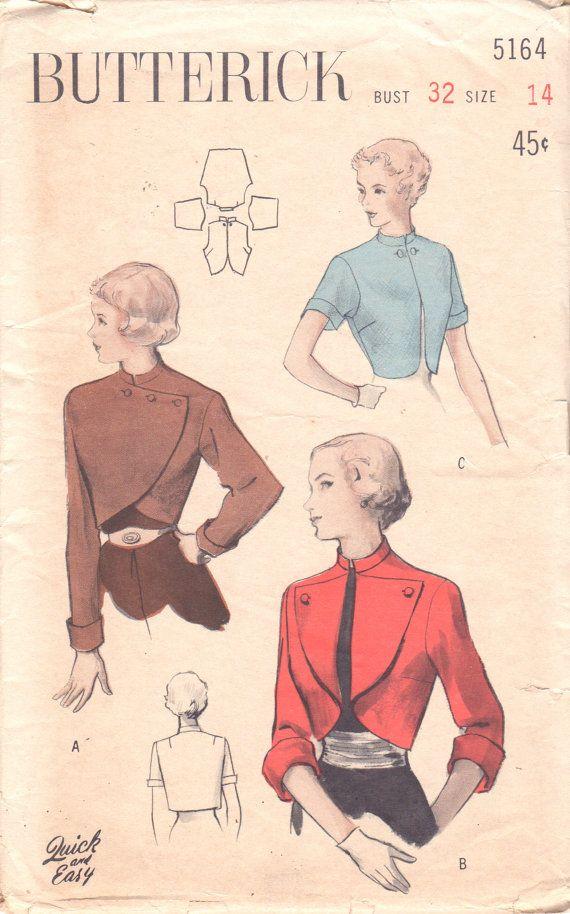 Butterick 5164 1950s Misses Mandarin Collar BOLERO Asymmetrical Seam ...