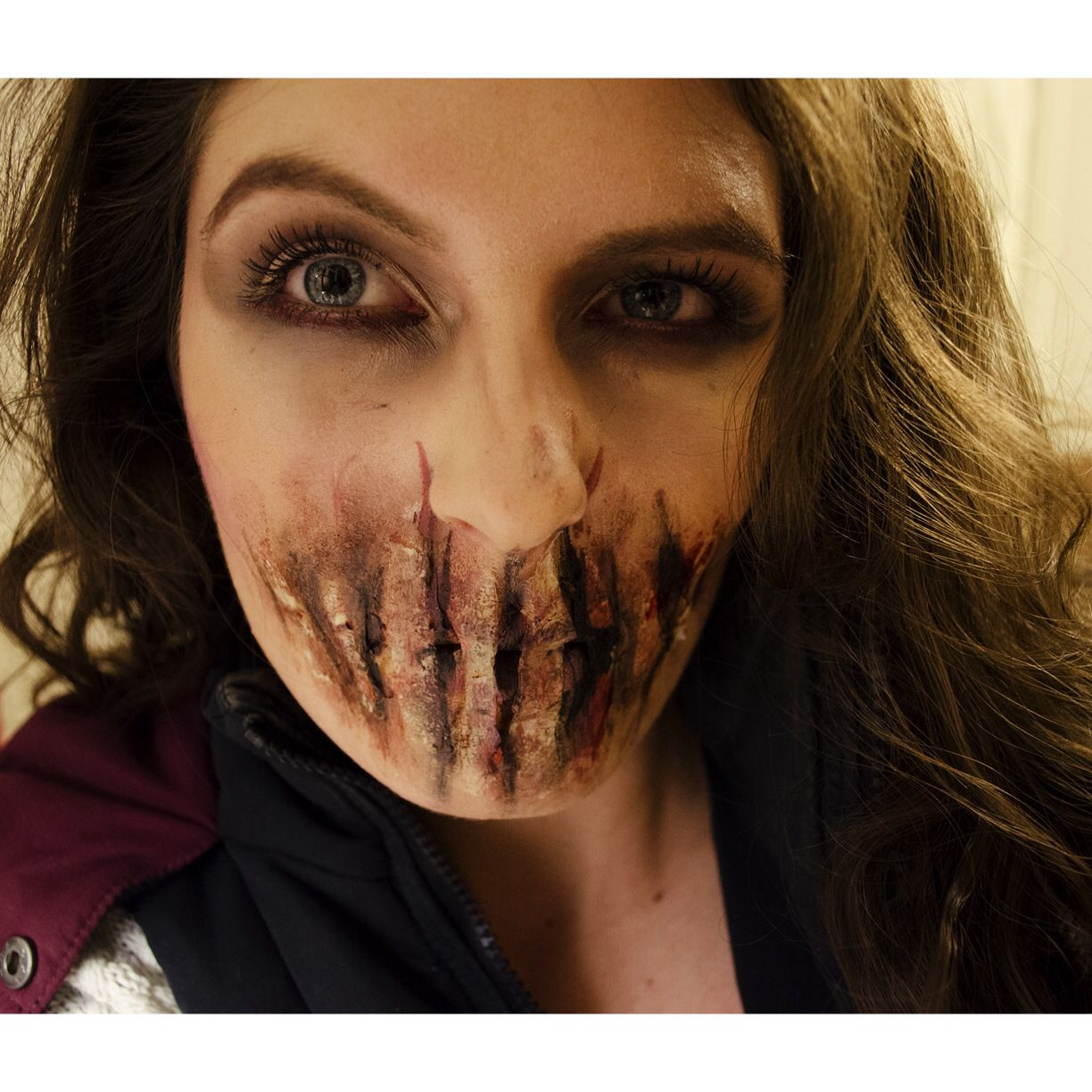 Easy Sfx Zombie Bane Halloween Makeup Facepaint I Did This Using Masking  Tape! Tutorial