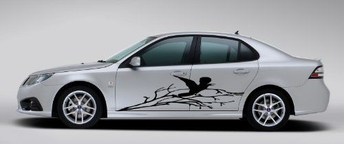 Auto Car Decals Raven Crow In Winter Tree Branch For Side Decor - Unique car decals stickers