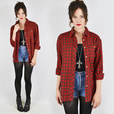 8ae5965397b vtg 80s 90s grunge RED PLAID slouchy OVERSIZED FLANNEL button up shirt top  S M L  58.00