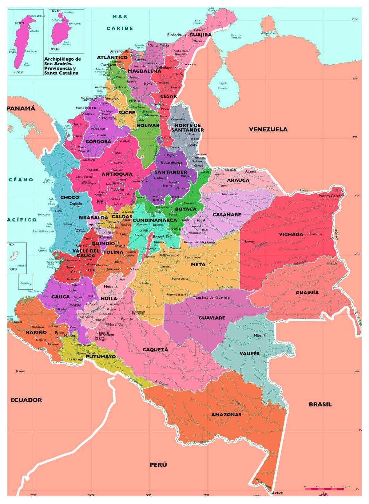Informacion E Imagenes Con Mapas De Colombia Politico Fisico Y