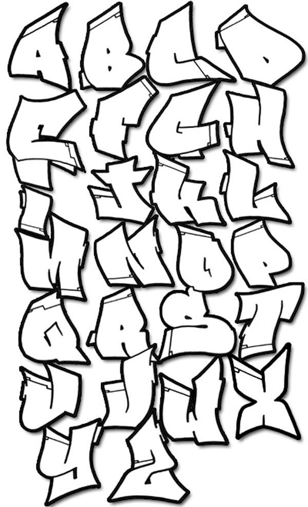 Graffiti Alphabets Of 3D Style Fonts Hard