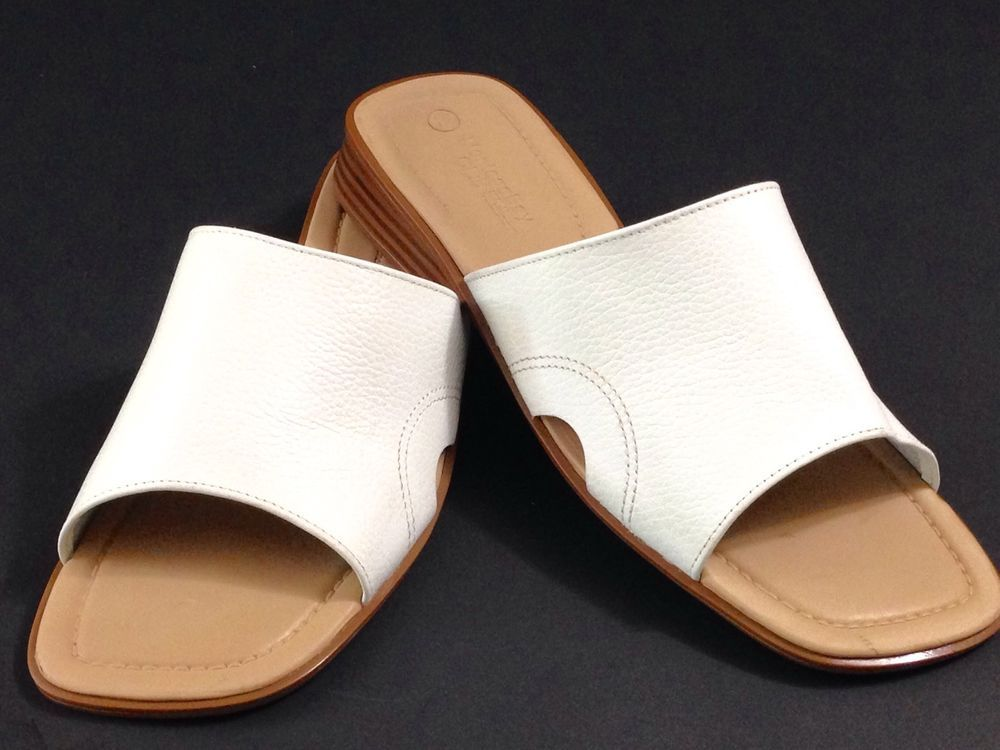 6aabc6ad7 Montego Bay Club Leather Collection Womens Slide Sandals White BRAZIL Size  12 M  MontegoBayClub  Slides  Casual