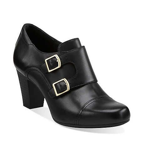 Saphire Athena in Black Leather - Womens Shoes from Clarks
