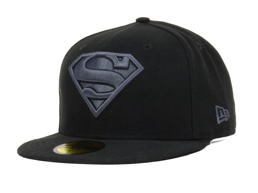 Dc Comics Hero Black Gray Basic 59fifty Cap Superman Fitted Hats Hero Black Hats