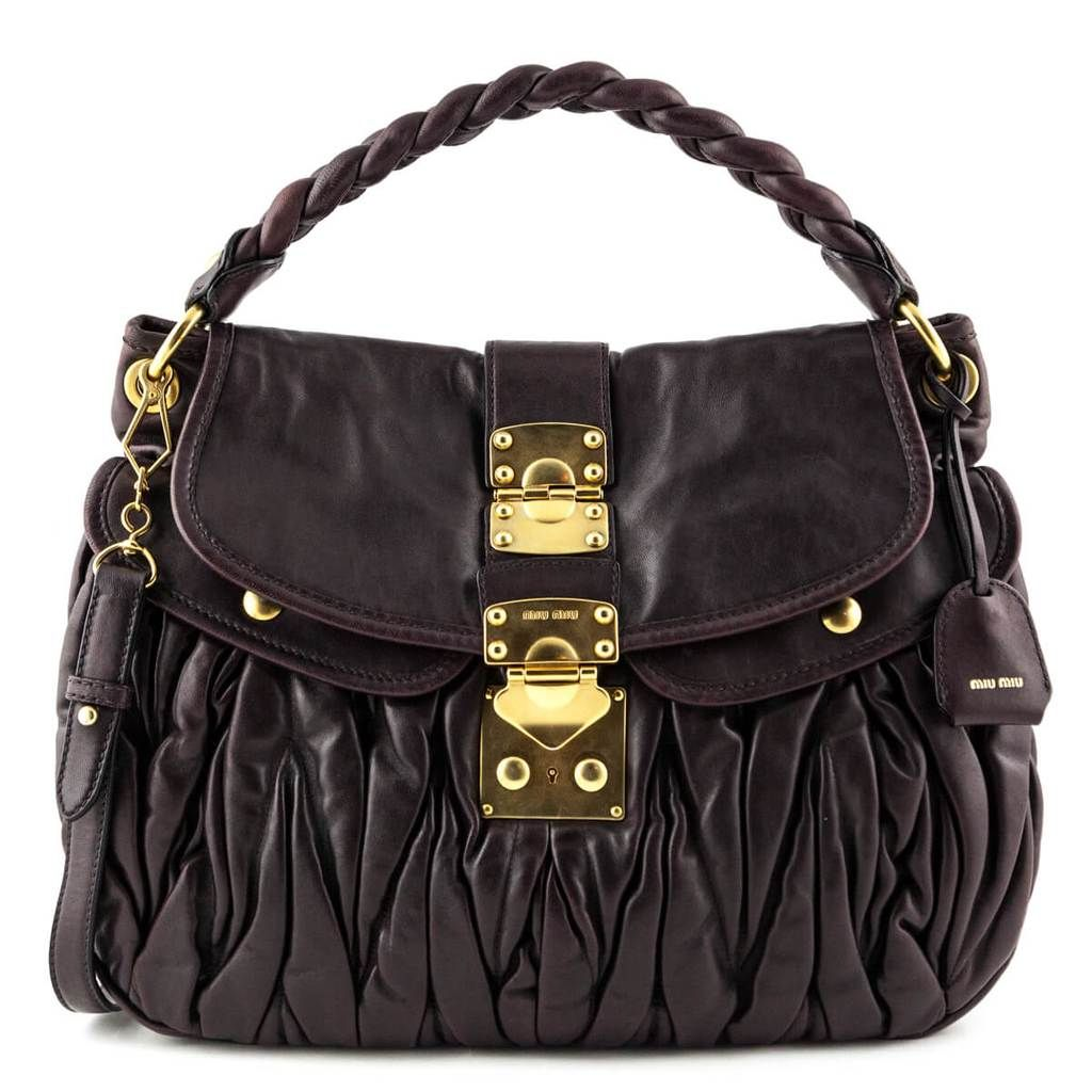 Miu Miu Aubergine Nappa Lux Coffer Bag Luxury Consignment Canada Bags Miu Miu Handbags Miu Miu