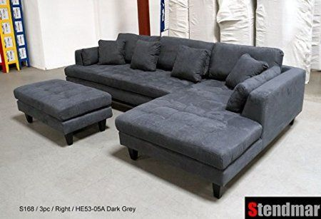 Amazon Com 3pc New Modern Dark Grey Microfiber Sectional Sofa