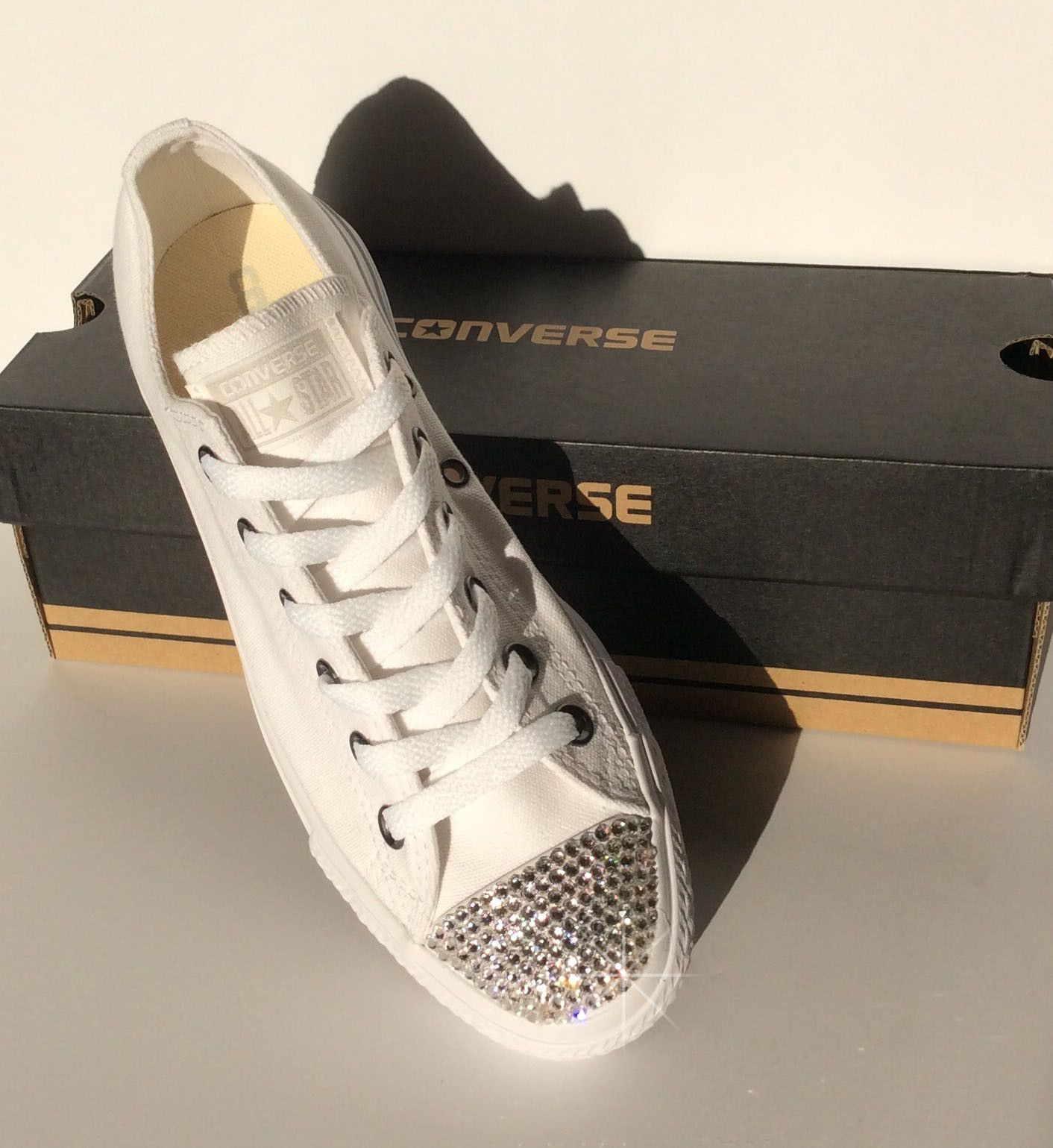 ea8c298aa4c966 Womens ALL White Bedazzled Converse  Glitter Converse Shoes With Genuine  Swarovski Crystals