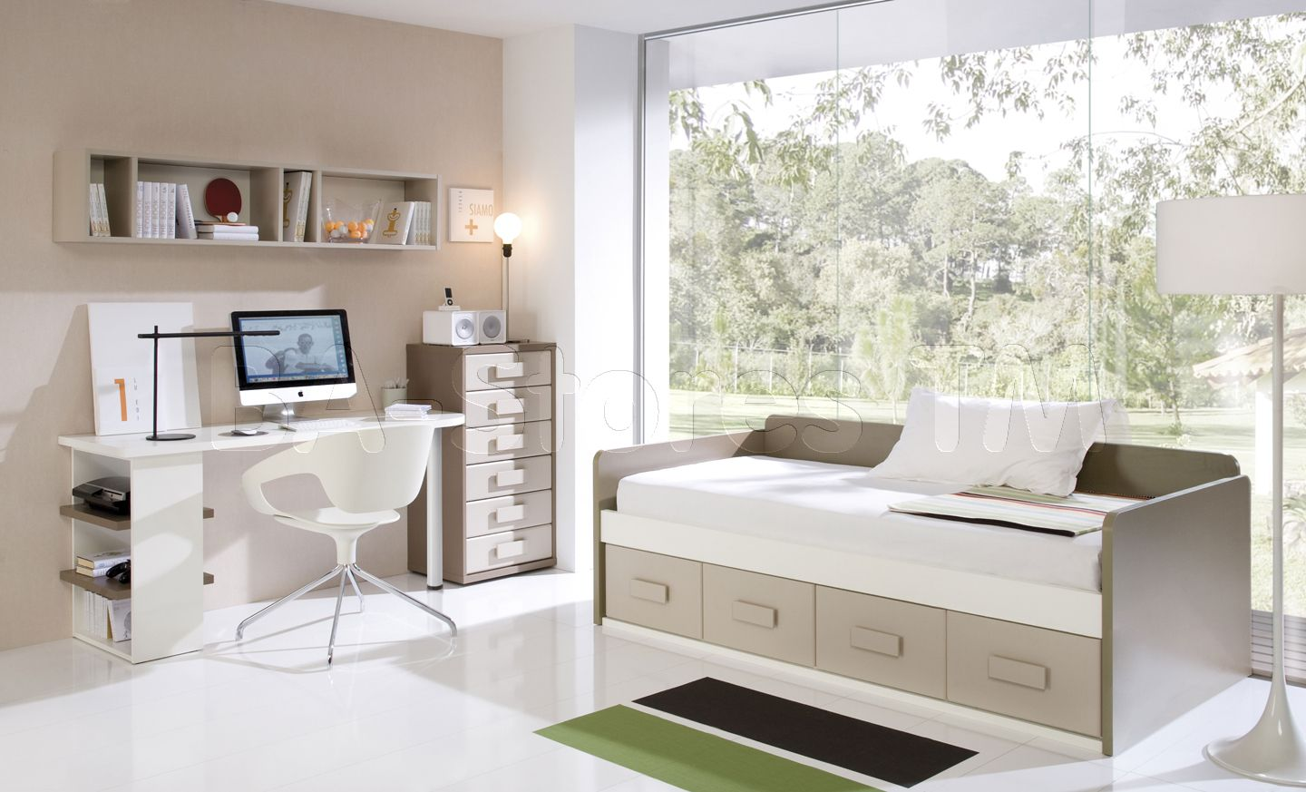brilliant small bedroom with shelves idea and cream wall paint