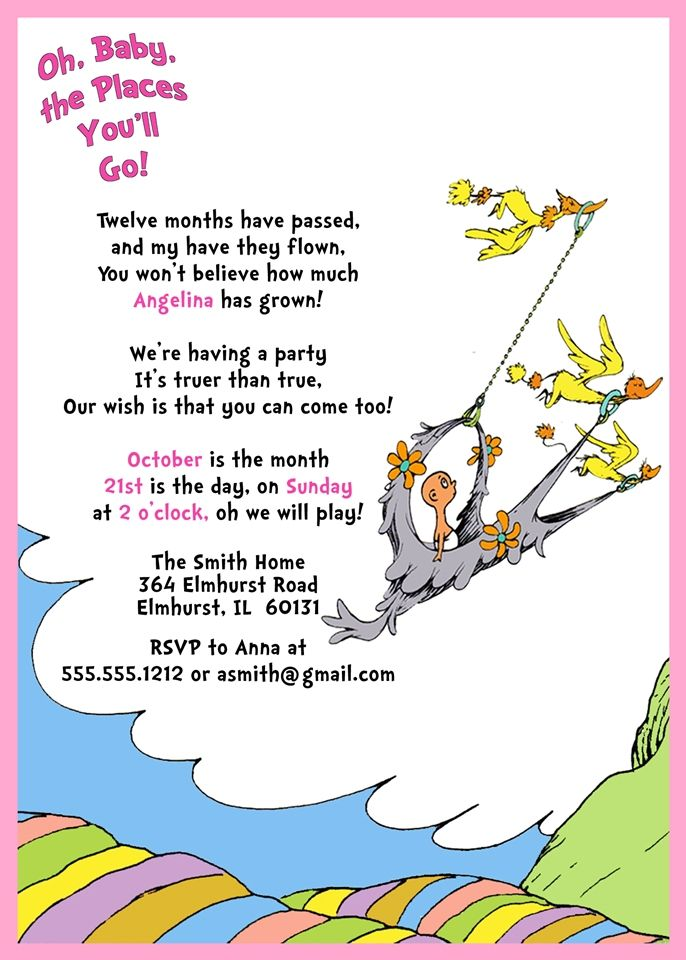 dr. seuss 1st birthday invitation, oh, baby the places you'll go, Birthday invitations