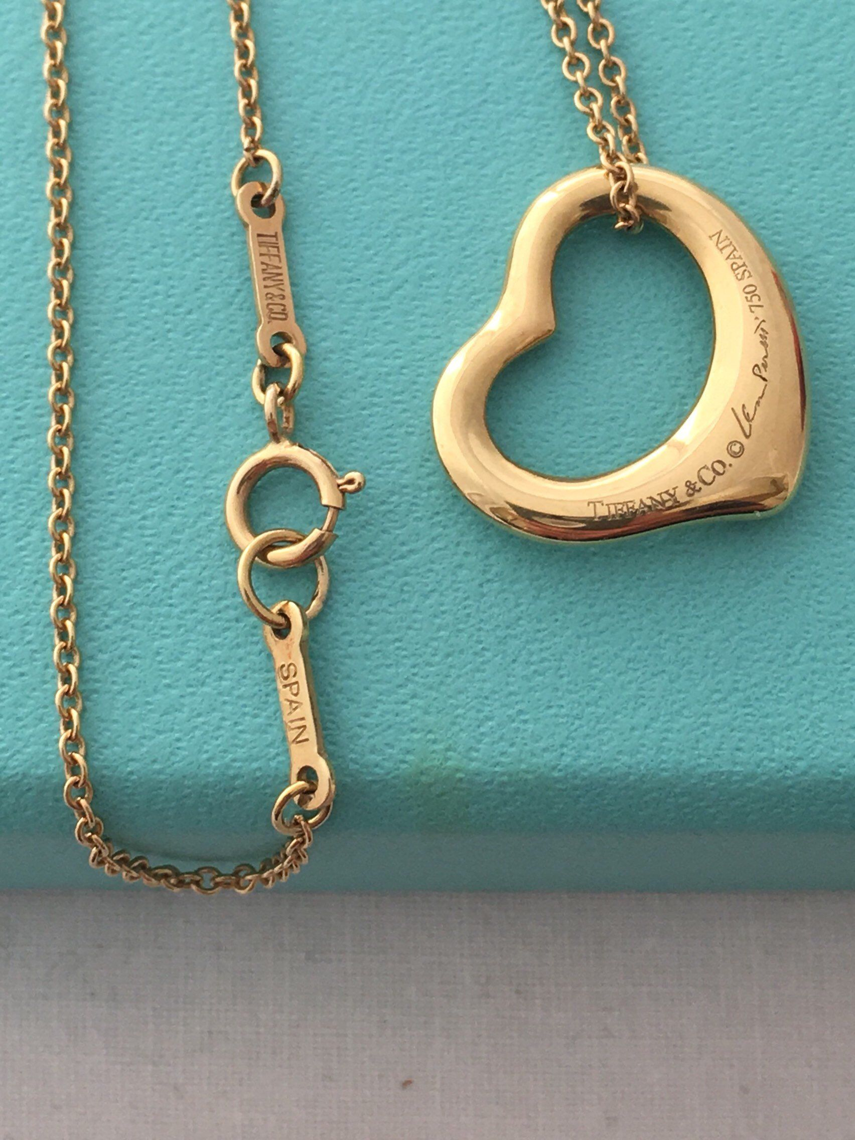 e81a57ac2 Excited to share the latest addition to my #etsy shop: 18K Gold Tiffany and  Co Open Heart Pendant Necklace Elsa Peretti 18K Gold Chain 16