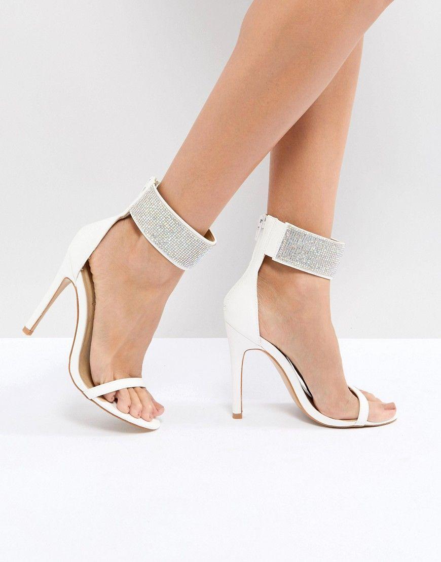 9b9f9ea57 Truffle Collection Wedding Embellished Heeled Sandals – White ...