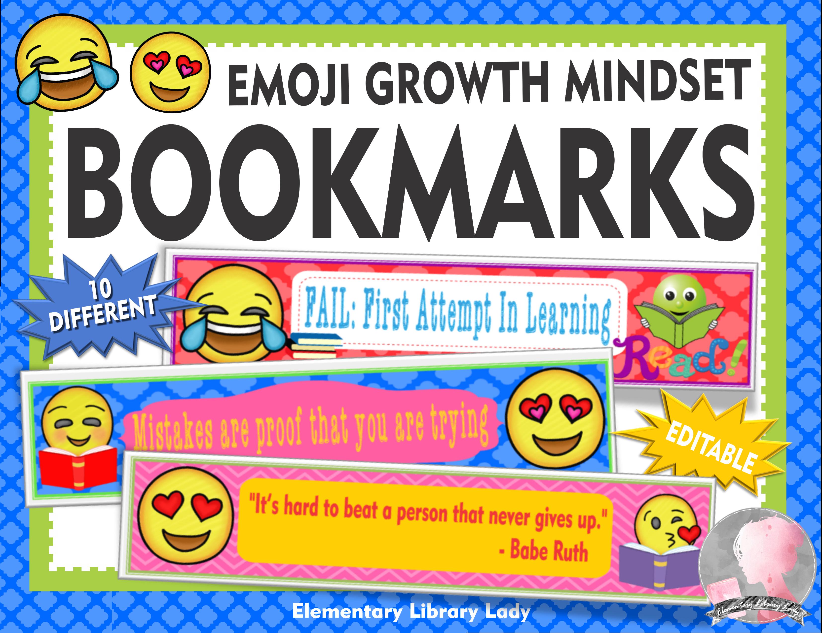 Swell Emoji Decor Growth Mindset Bookmarks Shelf Markers Or Desk Download Free Architecture Designs Scobabritishbridgeorg