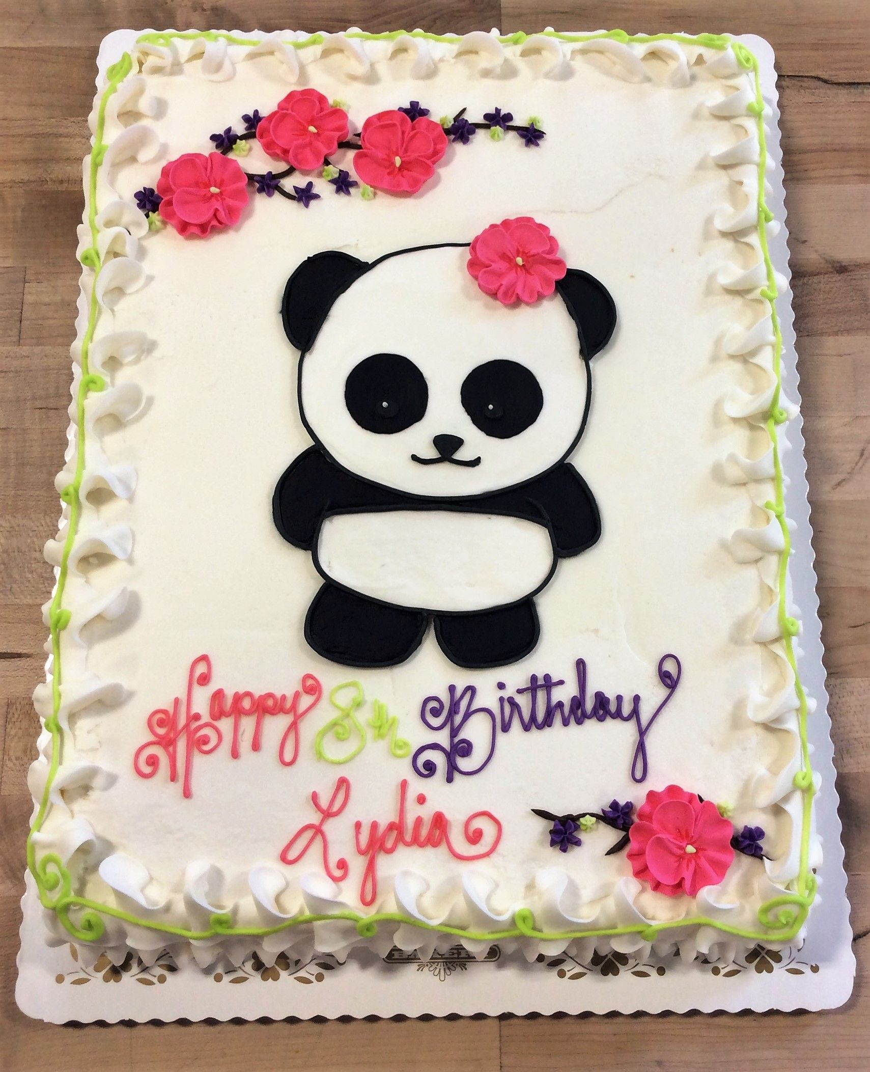 Sheet Cake With Piped Panda Decoration Birthday Cakes Girls Kids