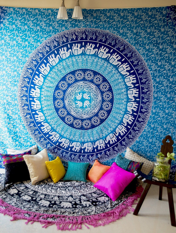 Amazon.com: Folkulture Blue Elephant Indian Mandala Wall Tapestry ...