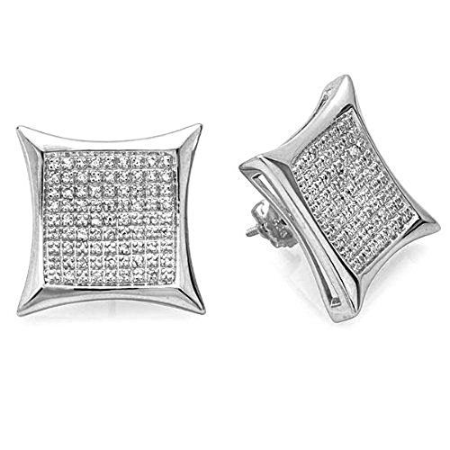 0 50 Carat Ctw 925 Sterling Silver Diamond Kite Shape Mens Hip Hop Stud Earrings 1 2 Ct